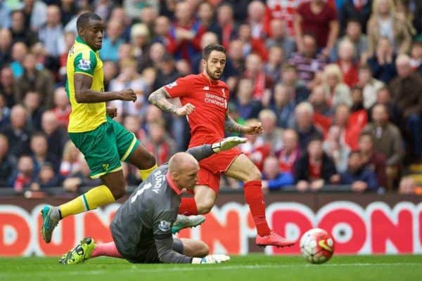 LIVERPOOL, ENGLAND - Sunday, September 20, 2015: Liverpool's Danny Ings scores the first goal against Norwich City during the Premier League match at Anfield. (Pic by David Rawcliffe/Propaganda)