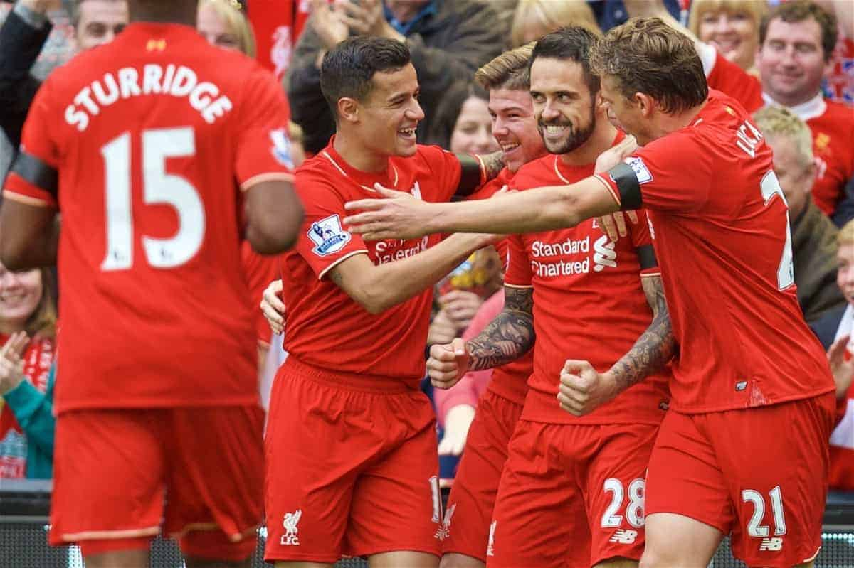 LIVERPOOL, ENGLAND - Sunday, September 20, 2015: Liverpool's Danny Ings celebrates scoring the first goal with teammates during the Premier League match against Norwich City at Anfield. (Pic by David Rawcliffe/Propaganda)