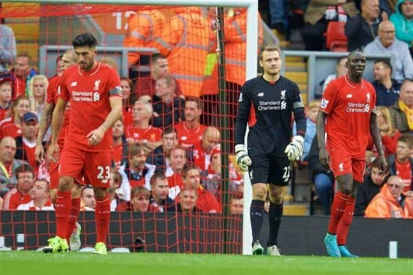 LIVERPOOL, ENGLAND - Sunday, September 20, 2015: Liverpool's goalkeeper Simon Mignolet, Mamadou Sakho and Emre Can looking dejected after Norwich City scored a goal during the Premier League match at Anfield. (Pic by David Rawcliffe/Propaganda)