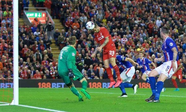 LIVERPOOL, ENGLAND - Wednesday, September 23, 2015: Liverpool's Danny Ings scores the first goal against Carlisle United during the Football League Cup 3rd Round match at Anfield. (Pic by David Rawcliffe/Propaganda)