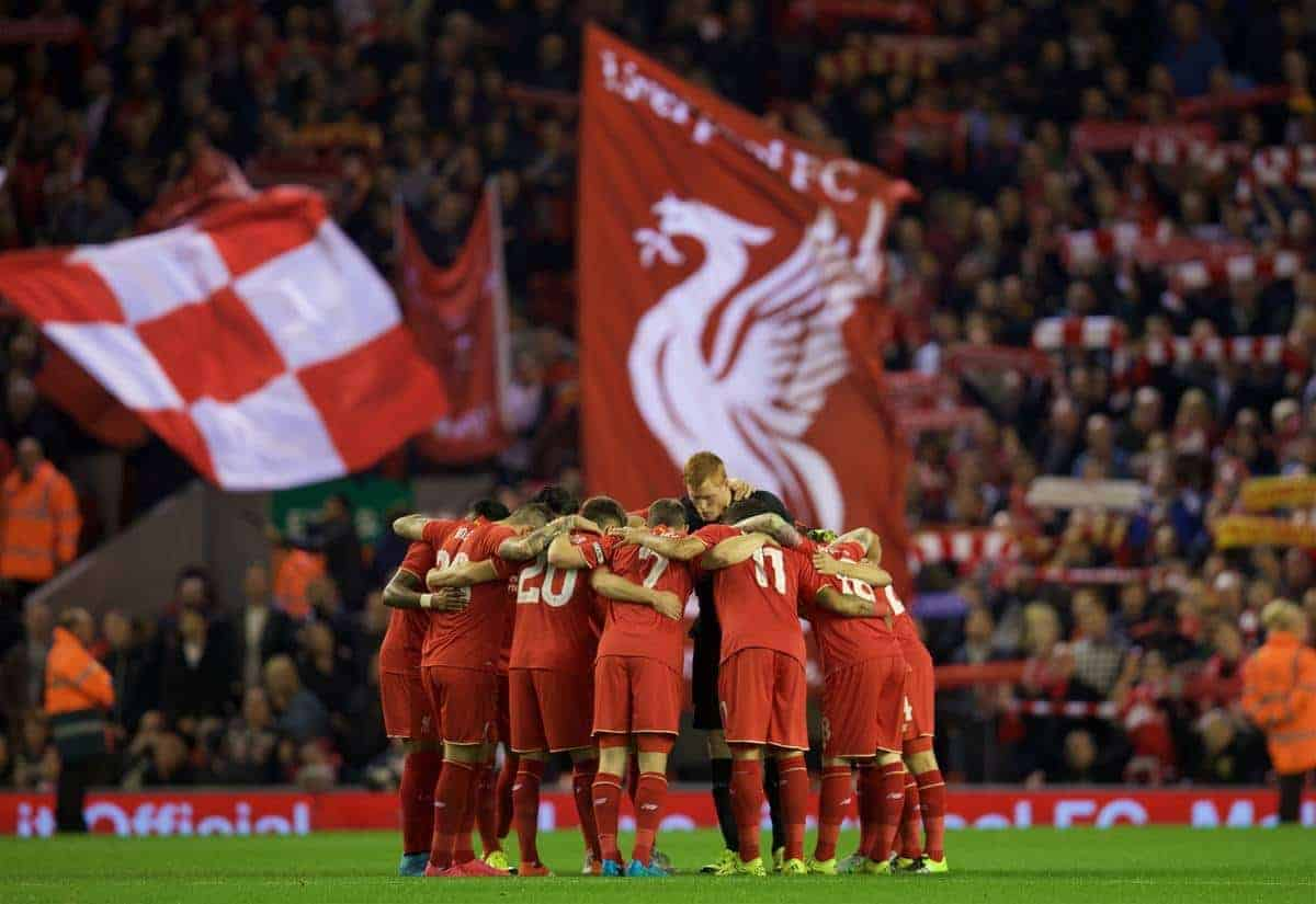 LIVERPOOL, ENGLAND - Wednesday, September 23, 2015: Liverpool team before the Football League Cup 3rd Round match against Carlisle United at Anfield. (Pic by David Rawcliffe/Propaganda)