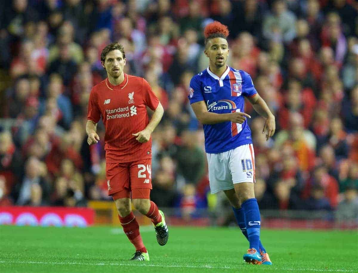 LIVERPOOL, ENGLAND - Wednesday, September 23, 2015: Liverpool's Joe Allen in action against Carlisle United's Bastien Hery during the Football League Cup 3rd Round match at Anfield. (Pic by David Rawcliffe/Propaganda)
