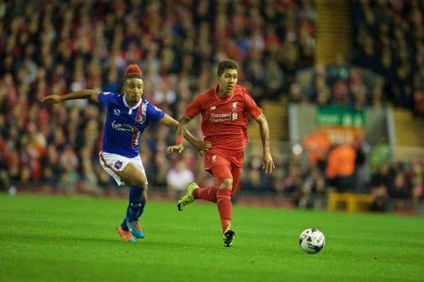LIVERPOOL, ENGLAND - Wednesday, September 23, 2015: Liverpool's Roberto Firmino in action against Carlisle United's Bastien Hery during the Football League Cup 3rd Round match at Anfield. (Pic by David Rawcliffe/Propaganda)
