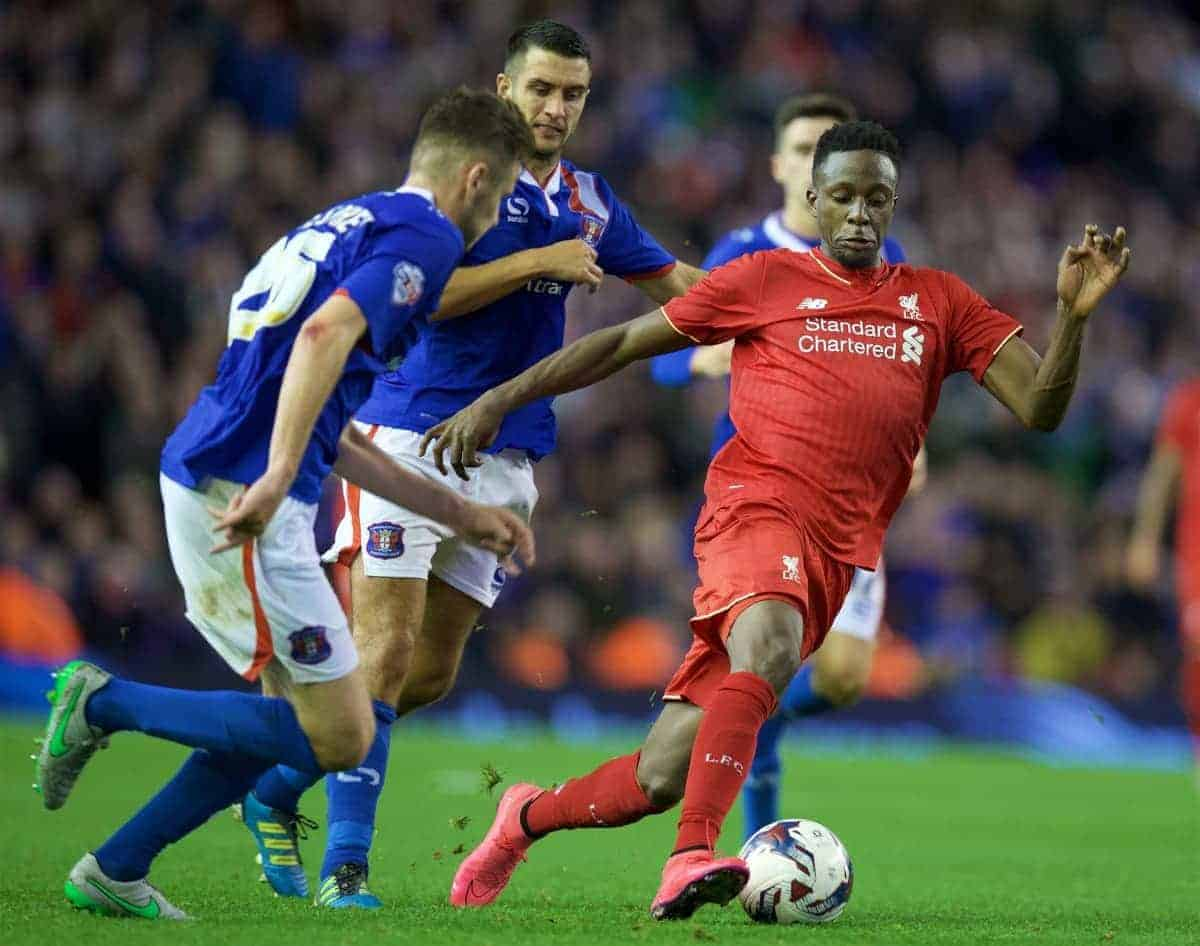 LIVERPOOL, ENGLAND - Wednesday, September 23, 2015: Liverpool's Nathaniel Clyne in action during the Football League Cup 3rd Round match against Carlisle United at Anfield. (Pic by David Rawcliffe/Propaganda)