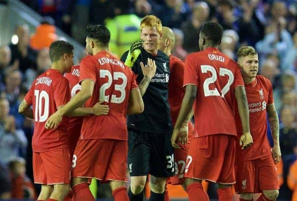 LIVERPOOL, ENGLAND - Wednesday, September 23, 2015: Liverpool's goalkeeper Adam Bogdan celebrates after his saves in the penalty shoot out sealed a 3-2 victory after a 1-1 draw against Carlisle United during the Football League Cup 3rd Round match at Anfield. (Pic by David Rawcliffe/Propaganda)