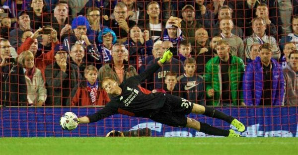 LIVERPOOL, ENGLAND - Wednesday, September 23, 2015: Liverpool's goalkeeper Adam Bogdan makes a save in the 3-2 penalty shoot-out victory over Carlisle United during the Football League Cup 3rd Round match at Anfield. (Pic by David Rawcliffe/Propaganda)