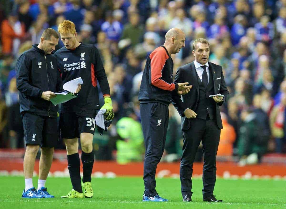 LIVERPOOL, ENGLAND - Wednesday, September 23, 2015: Liverpool's manager Brendan Rodgers and first team coach Gary McAllister pick the penalty takers as goalkeeping coach John Achterberg speaks with goalkeeper Adam Bogdan after the 1-1 extra time draw against Carlisle United during the Football League Cup 3rd Round match at Anfield. (Pic by David Rawcliffe/Propaganda)