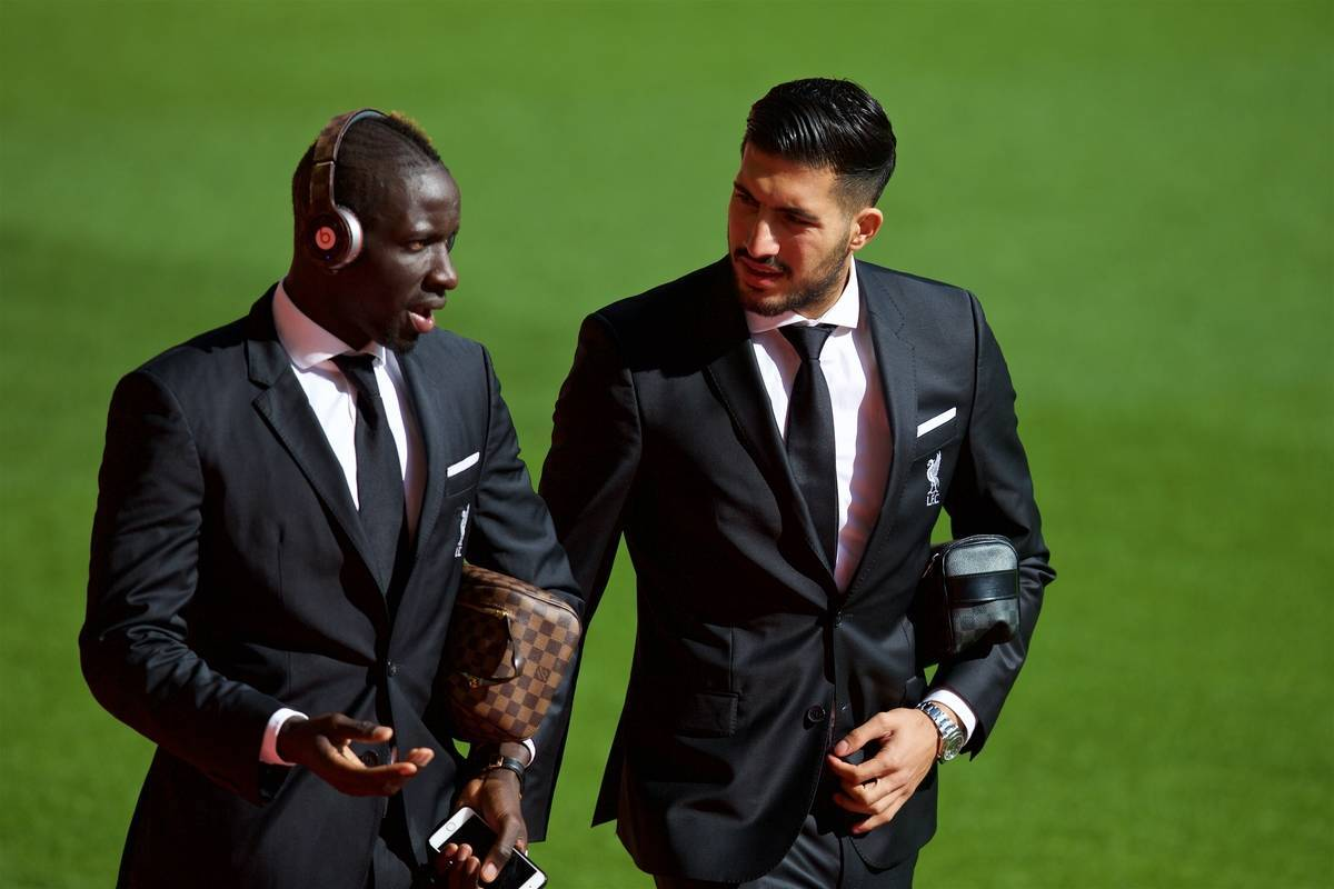 LIVERPOOL, ENGLAND - Saturday, September 26, 2015: Liverpool's Mamadou Sakho and Emre Can arrive at Anfield before the Premier League match against Aston Villa. (Pic by David Rawcliffe/Propaganda)