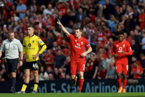LIVERPOOL, ENGLAND - Saturday, September 26, 2015: Liverpool's James Milner celebrates scoring the first goal against Aston Villa during the Premier League match at Anfield. (Pic by David Rawcliffe/Propaganda)