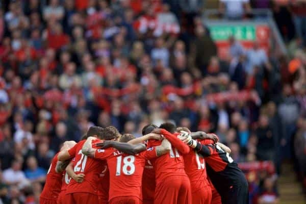 LIVERPOOL, ENGLAND - Saturday, September 26, 2015: Liverpool players form a team huddle before during the Premier League match against Aston Villa at Anfield. (Pic by David Rawcliffe/Propaganda)