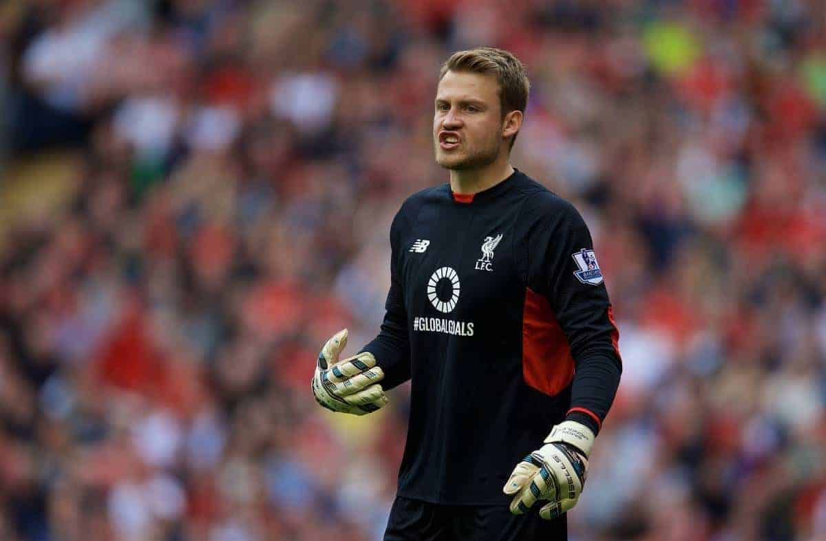 LIVERPOOL, ENGLAND - Saturday, September 26, 2015: Liverpool's goalkeeper Simon Mignolet in action against Aston Villa during the Premier League match at Anfield. (Pic by David Rawcliffe/Propaganda)