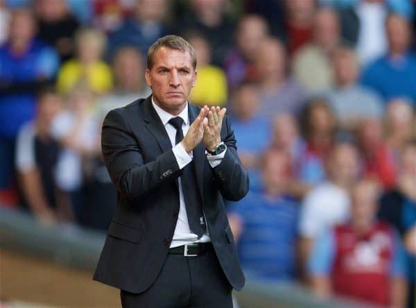 LIVERPOOL, ENGLAND - Saturday, September 26, 2015: Liverpool's manager Brendan Rodgers during the Premier League match against Aston Villa at Anfield. (Pic by David Rawcliffe/Propaganda)