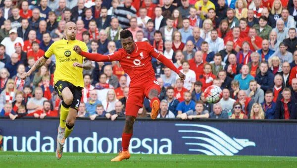 LIVERPOOL, ENGLAND - Saturday, September 26, 2015: Liverpool's Daniel Sturridge scores the second goal against Aston Villa during the Premier League match at Anfield. (Pic by David Rawcliffe/Propaganda)