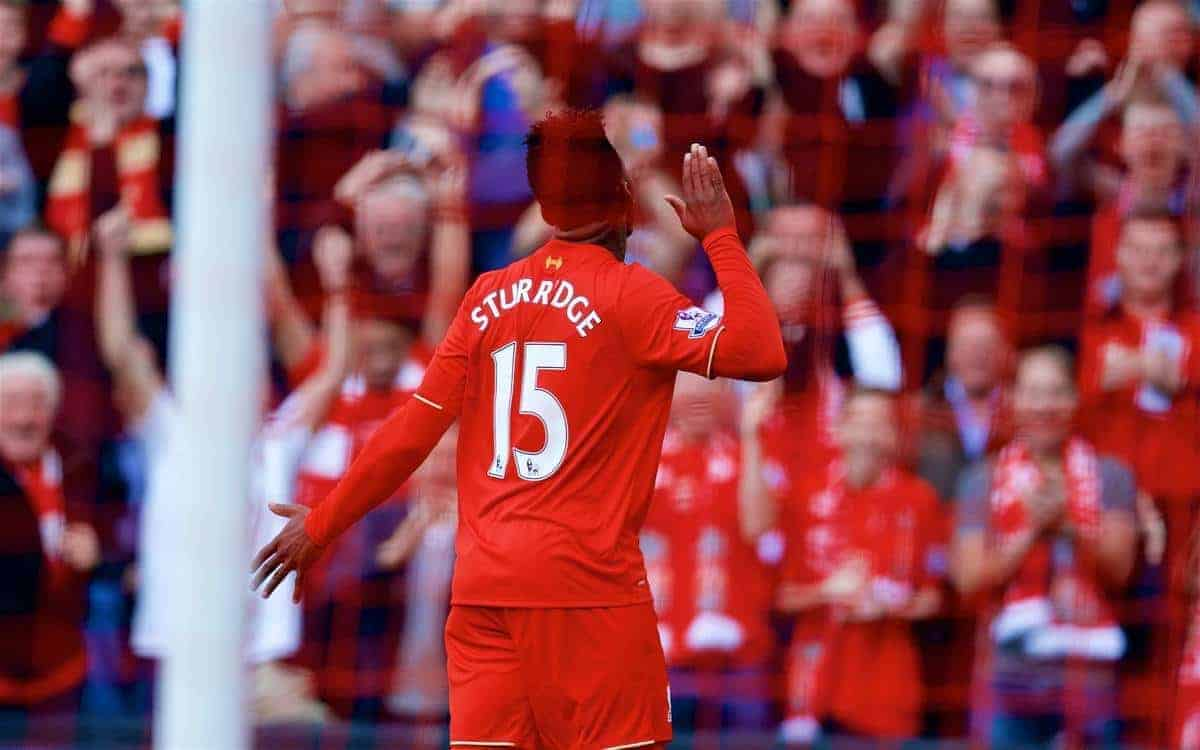 LIVERPOOL, ENGLAND - Saturday, September 26, 2015: Liverpool's Daniel Sturridge celebrates scoring the second goal against Aston Villa during the Premier League match at Anfield. (Pic by David Rawcliffe/Propaganda)
