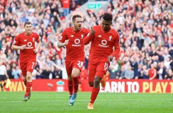 Liverpool's Daniel Sturridge celebrates scoring the third goal against Aston Villa during the Premier League match at Anfield. (Pic by David Rawcliffe/Propaganda)