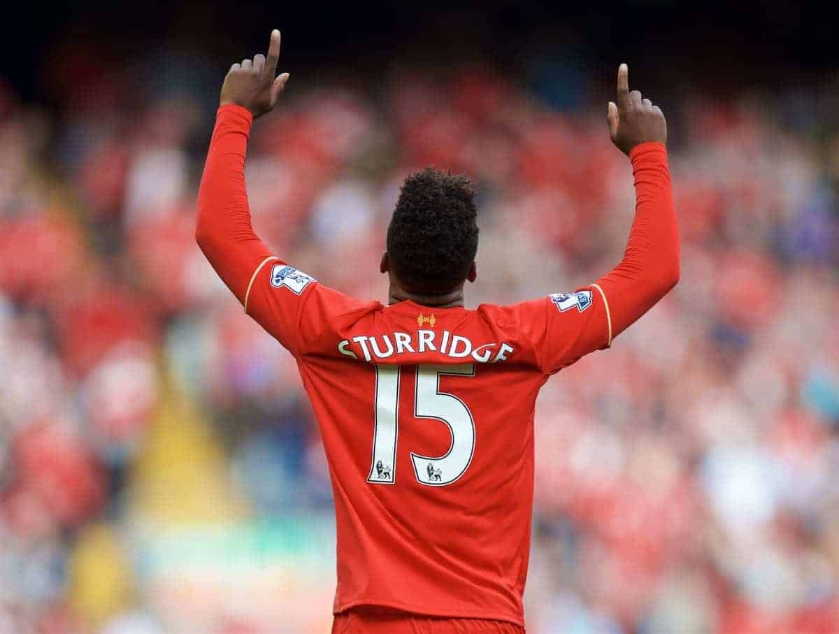 LIVERPOOL, ENGLAND - Saturday, September 26, 2015: Liverpool's Daniel Sturridge celebrates scoring the third goal against Aston Villa during the Premier League match at Anfield. (Pic by David Rawcliffe/Propaganda)
