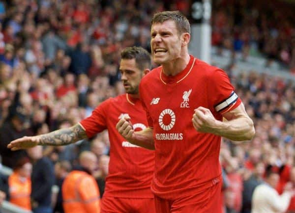 LIVERPOOL, ENGLAND - Saturday, September 26, 2015: Liverpool's James Milner celebrates after the 3-2 victory over Aston Villa during the Premier League match at Anfield. (Pic by David Rawcliffe/Propaganda)
