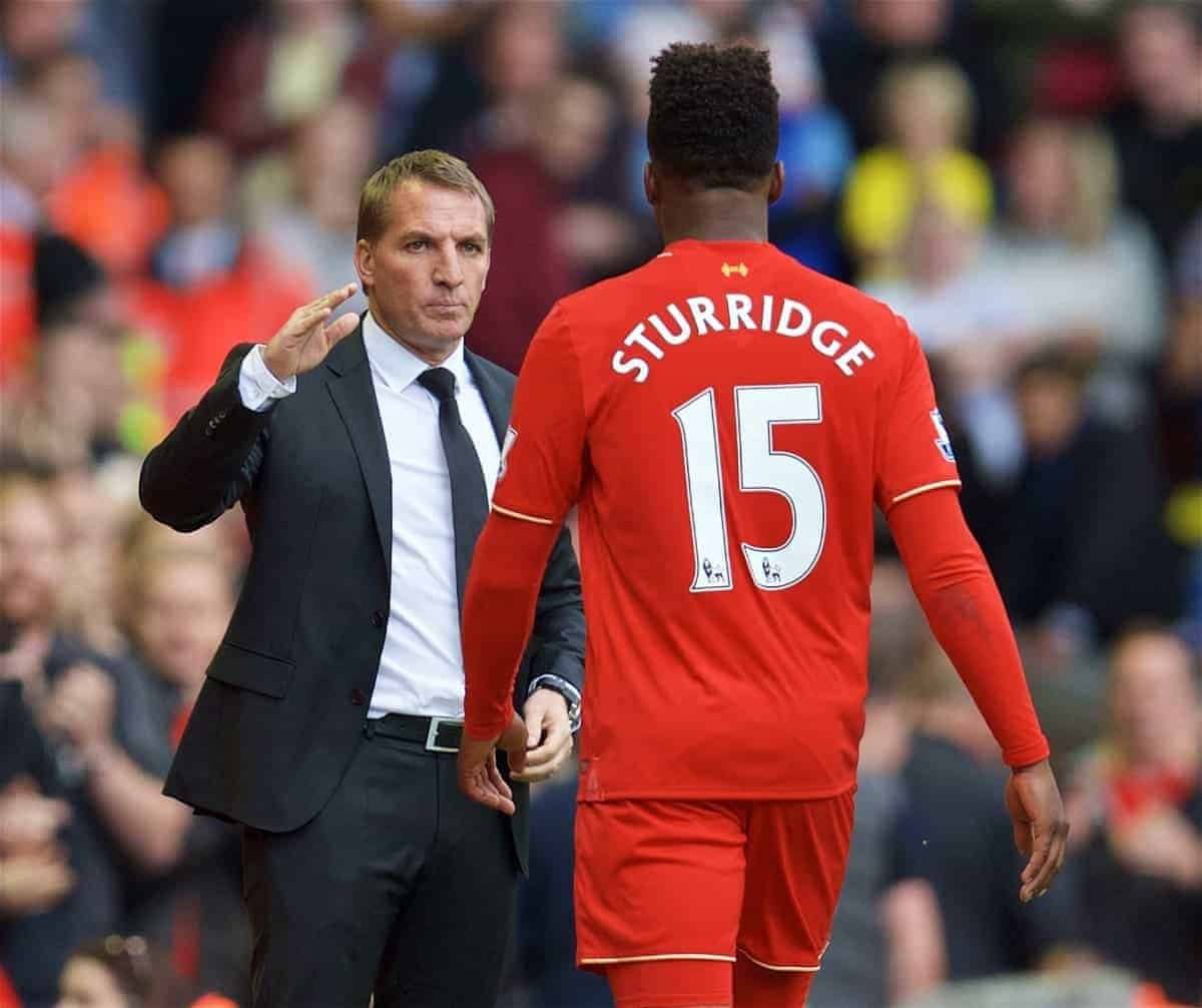 LIVERPOOL, ENGLAND - Saturday, September 26, 2015: Liverpool's manager Brendan Rodgers congratulates two-goal hero Daniel Sturridge as he substitutes the striker during the 3-2 Premier League victory over Aston Villa at Anfield. (Pic by David Rawcliffe/Propaganda)