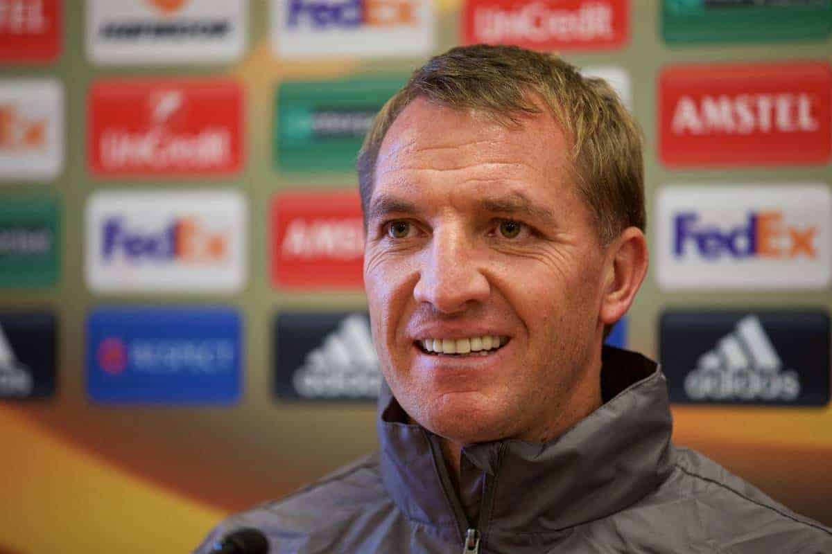 LIVERPOOL, ENGLAND - Wednesday, September 30, 2015: Liverpool's manager Brendan Rodgers during a press conference at Melwood Training Ground ahead of the UEFA Europa League Group Stage Group B match against FC Sion. (Pic by David Rawcliffe/Propaganda)