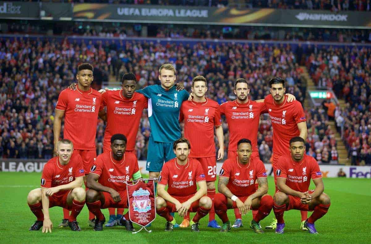 LIVERPOOL, ENGLAND - Thursday, October 1, 2015: Liverpool's players line up for a team group photograph before the UEFA Europa League Group Stage Group B match against FC Sion at Anfield. Back row L-R: Joe Gomez, Divock Origi, goalkeeper Simon Mignolet, Adam Lallana, Danny Ings, Emre Can. Front row L-R: Mario Balotelli, Kolo Toure, Joe Allen, Nathaniel Clyne, Jordon Ibe. (Pic by David Rawcliffe/Propaganda)