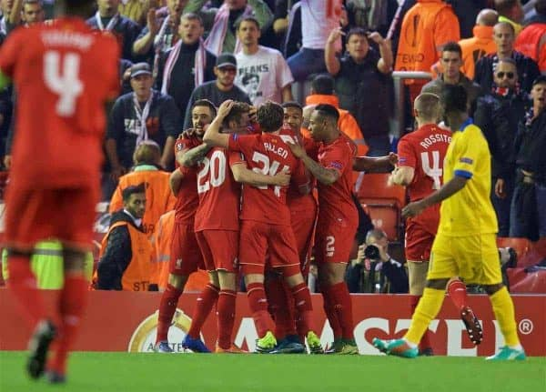 LIVERPOOL, ENGLAND - Thursday, October 1, 2015: Liverpool's Adam Lallana celebrates scoring the first goal against FC Sion during the UEFA Europa League Group Stage Group B match at Anfield. (Pic by David Rawcliffe/Propaganda)