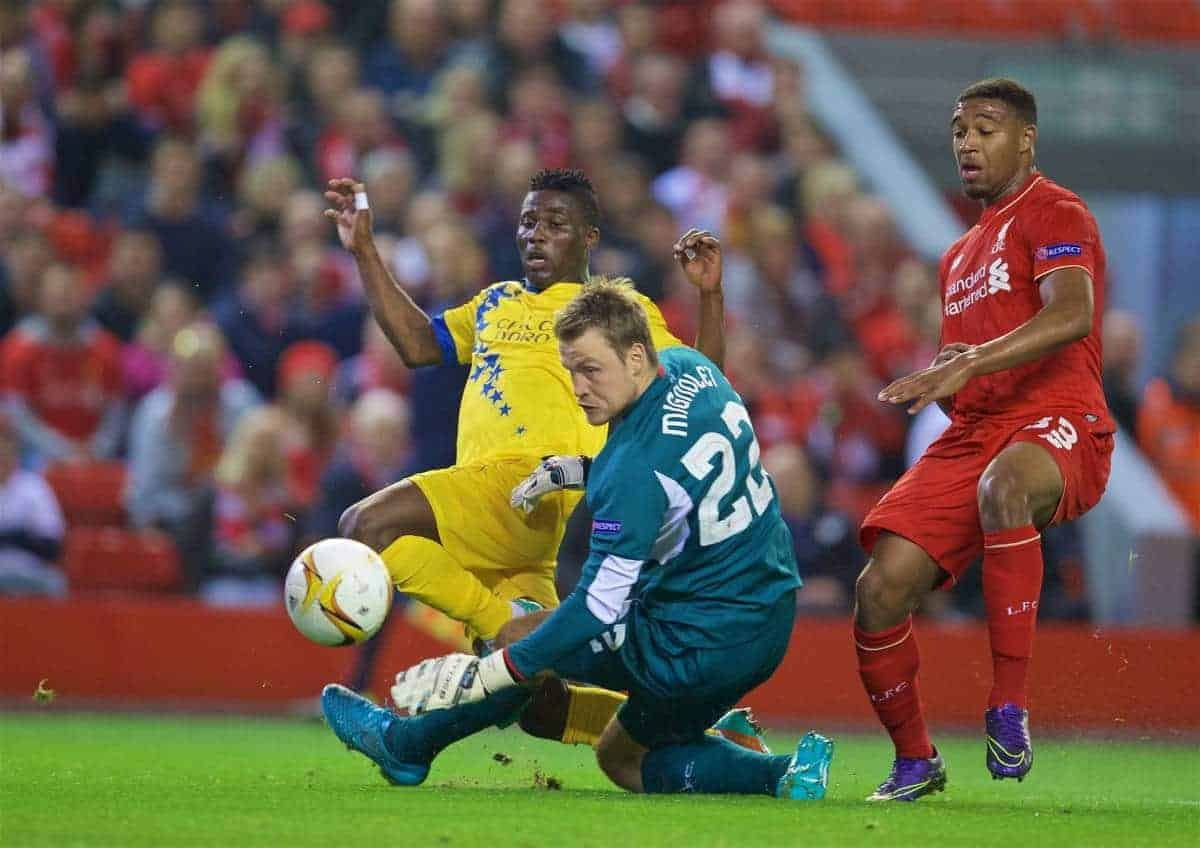 LIVERPOOL, ENGLAND - Thursday, October 1, 2015: FC Sion's Ebenezer Assifuah scores the first equalising goal past Liverpool's goalkeeper Simon Mignolet during the UEFA Europa League Group Stage Group B match at Anfield. (Pic by David Rawcliffe/Propaganda)