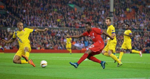 LIVERPOOL, ENGLAND - Thursday, October 1, 2015: Liverpool's Divock Origi in action against FC Sion during the UEFA Europa League Group Stage Group B match at Anfield. (Pic by David Rawcliffe/Propaganda)