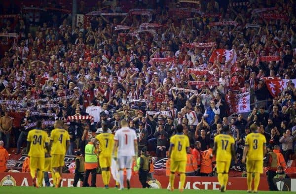 LIVERPOOL, ENGLAND - Thursday, October 1, 2015: FC Sion players and supporters after their 1-1 draw with Liverpool during the UEFA Europa League Group Stage Group B match at Anfield. (Pic by David Rawcliffe/Propaganda)