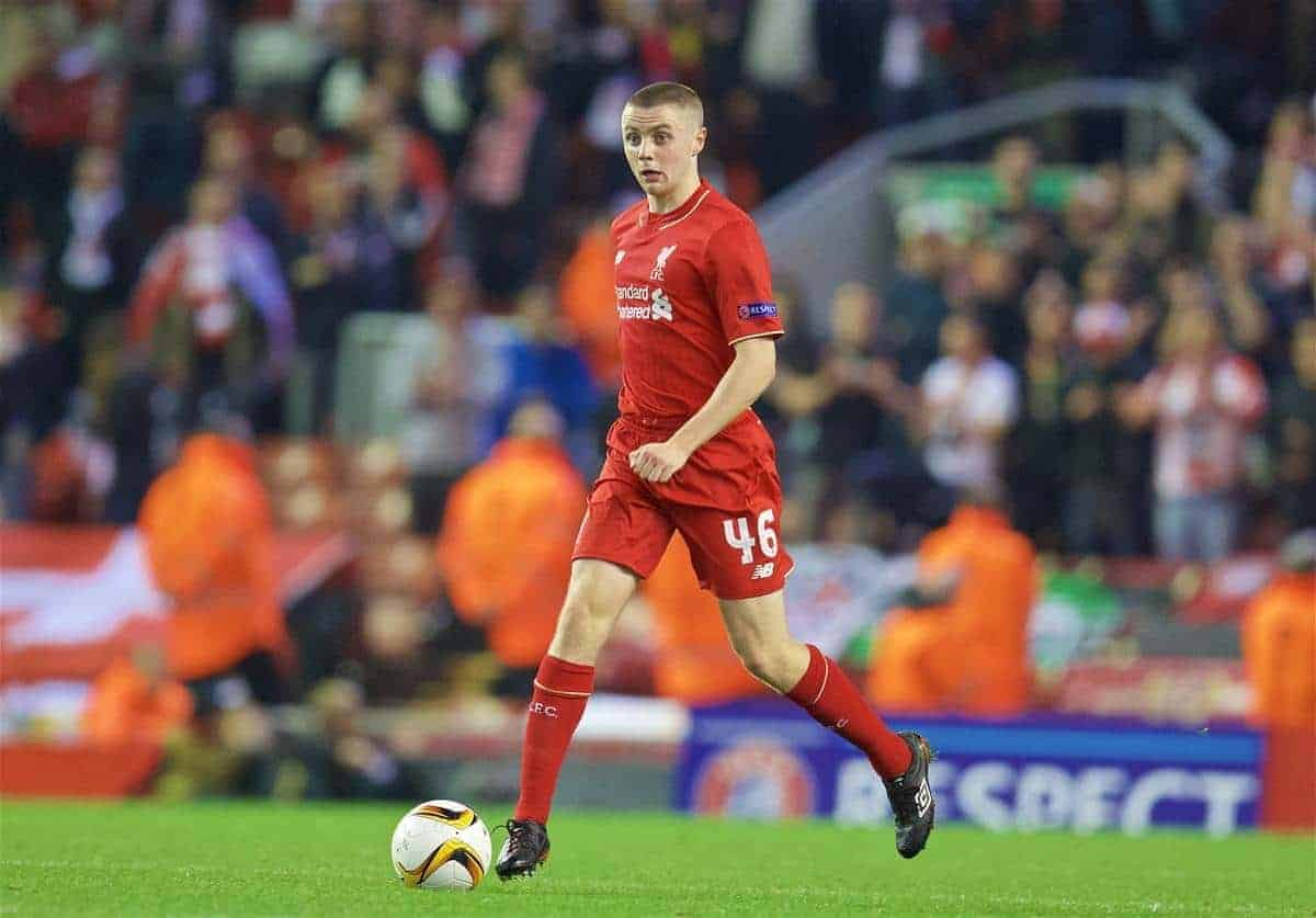 LIVERPOOL, ENGLAND - Thursday, October 1, 2015: Liverpool's Jordan Rossiter in action against FC Sion during the UEFA Europa League Group Stage Group B match at Anfield. (Pic by David Rawcliffe/Propaganda)