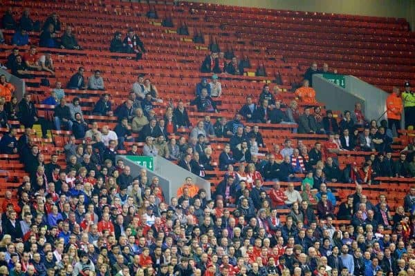 LIVERPOOL, ENGLAND - Thursday, October 1, 2015: Empty seats as Liverpool take on FC Sion during the UEFA Europa League Group Stage Group B match at Anfield. (Pic by David Rawcliffe/Propaganda)