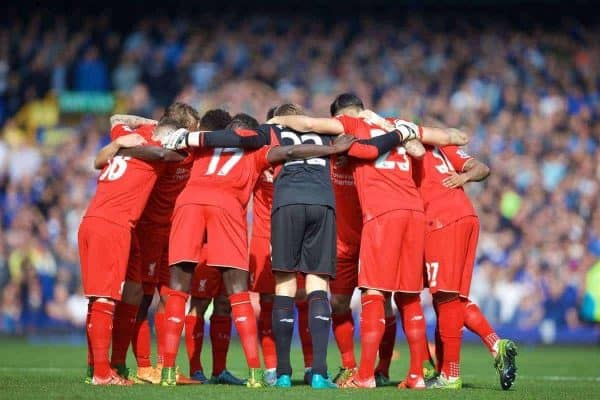 LIVERPOOL, ENGLAND - Sunday, October 4, 2015: Liverpool players team huddle before the Premier League match against Everton at Goodison Park, the 225th Merseyside Derby. (Pic by David Rawcliffe/Propaganda)