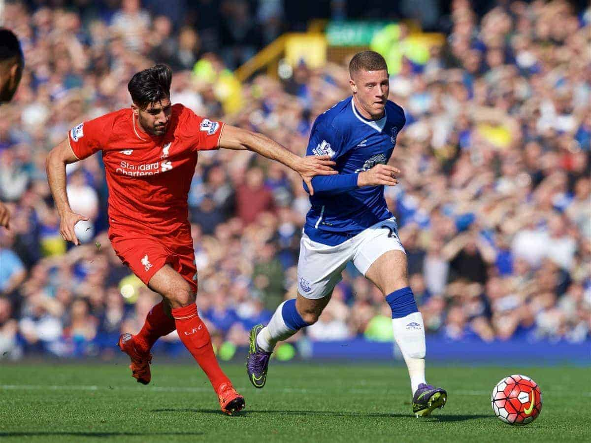 LIVERPOOL, ENGLAND - Sunday, October 4, 2015: Liverpool's Emre Can in action against Everton's Ross Barkley during the Premier League match at Goodison Park, the 225th Merseyside Derby. (Pic by David Rawcliffe/Propaganda)