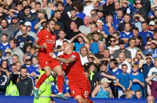 LIVERPOOL, ENGLAND - Sunday, October 4, 2015: Liverpool's Danny Ings celebrates scoring the first goal against Everton during the Premier League match at Goodison Park, the 225th Merseyside Derby. (Pic by David Rawcliffe/Propaganda)