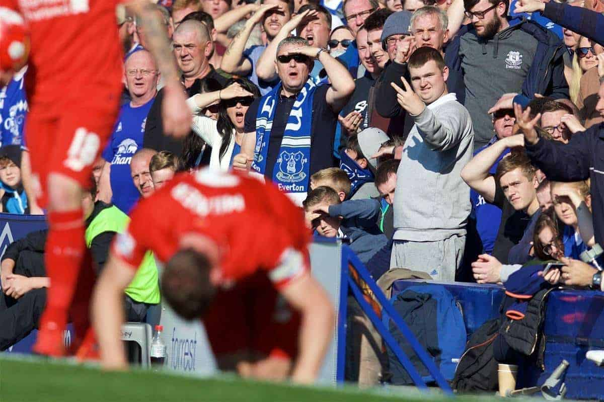 LIVERPOOL, ENGLAND - Sunday, October 4, 2015: An Everton supporter makes his feelings know during the Premier League match against Liverpool at Goodison Park, the 225th Merseyside Derby. (Pic by David Rawcliffe/Propaganda)