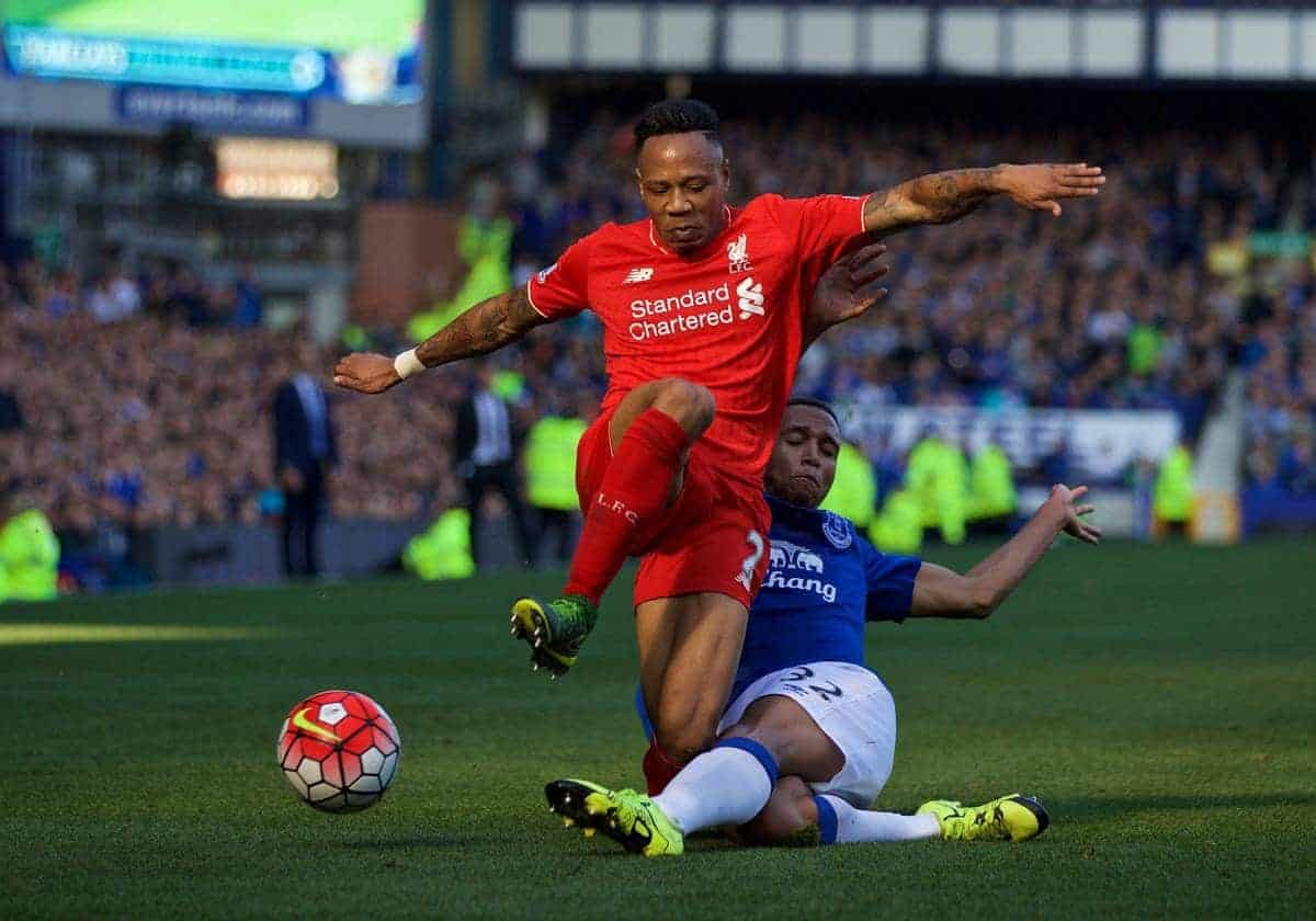 LIVERPOOL, ENGLAND - Sunday, October 4, 2015: Liverpool's Nathaniel Clyne in action against Everton's Brendan Galloway during the Premier League match at Goodison Park, the 225th Merseyside Derby. (Pic by Lexie Lin/Propaganda)