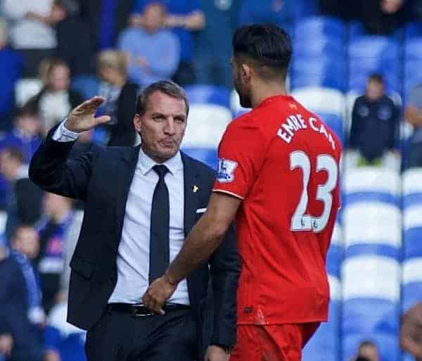 LIVERPOOL, ENGLAND - Sunday, October 4, 2015: Liverpool's manager Brendan Rodgers with Emre Can after 1-1 draw in the Premier League match against Everton at Goodison Park, the 225th Merseyside Derby. (Pic by Lexie Lin/Propaganda)