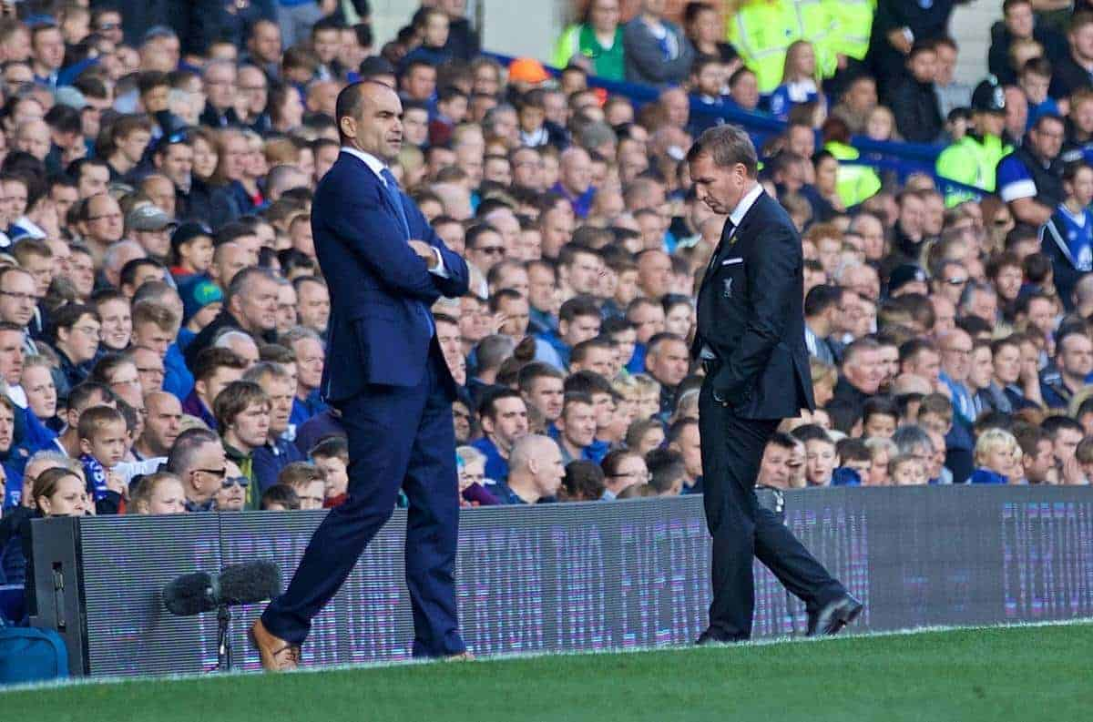 LIVERPOOL, ENGLAND - Sunday, October 4, 2015: Liverpool's manager Brendan Rodgers looking frustrated during the Premier League match against Everton at Goodison Park, the 225th Merseyside Derby. (Pic by Lexie Lin/Propaganda)