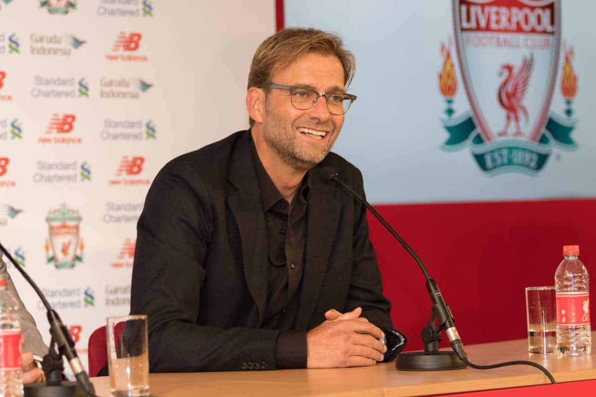 LIVERPOOL, ENGLAND - Friday, October 9, 2015: Liverpool announce German Jürgen Klopp as new manager during a press conference at Anfield. (Pic by David Rawcliffe/Propaganda)