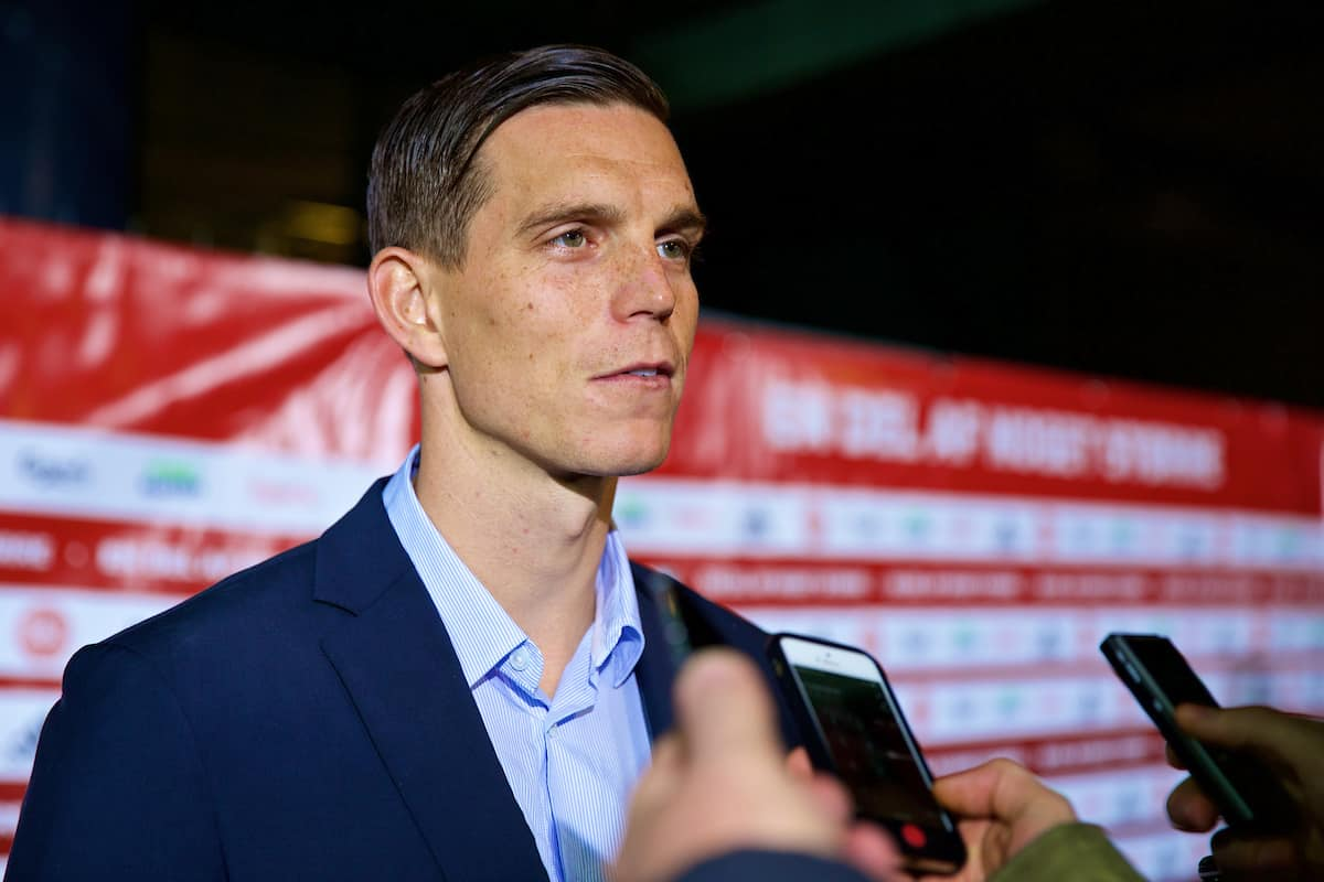 COPENHAGEN, DENMARK - Sunday, October 11, 2015: Denmark's captain Daniel Agger talking to press after the 1-2 friendly game against France at Parken Stadium. (Pic by Lexie Lin/Propaganda)