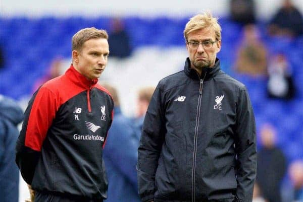 Liverpool's manager Jürgen Klopp and first-team development coach Pepijn Lijnders before the Premier League match against Tottenham Hotspur at White Hart Lane. (Pic by David Rawcliffe/Kloppaganda)