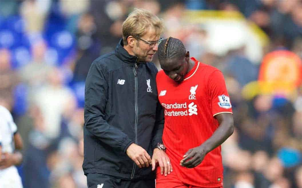 Liverpool's manager J¸rgen Klopp and Mamadou Sakho after the goal-less draw with Tottenham Hotspur during the Premier League match at White Hart Lane. (Pic by David Rawcliffe/Kloppaganda)