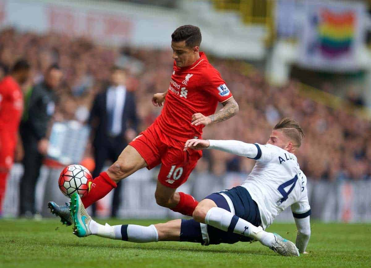 LONDON, ENGLAND - Saturday, October 17, 2015: Liverpool's Philippe Coutinho Correia in action against Tottenham Hotspur's Toby Alderweireld during the Premier League match at White Hart Lane. (Pic by David Rawcliffe/Kloppaganda)