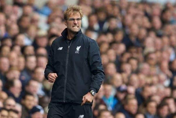 LONDON, ENGLAND - Saturday, October 17, 2015: Liverpool's manager Jürgen Klopp during the Premier League match against Tottenham Hotspur at White Hart Lane. (Pic by David Rawcliffe/Kloppaganda)