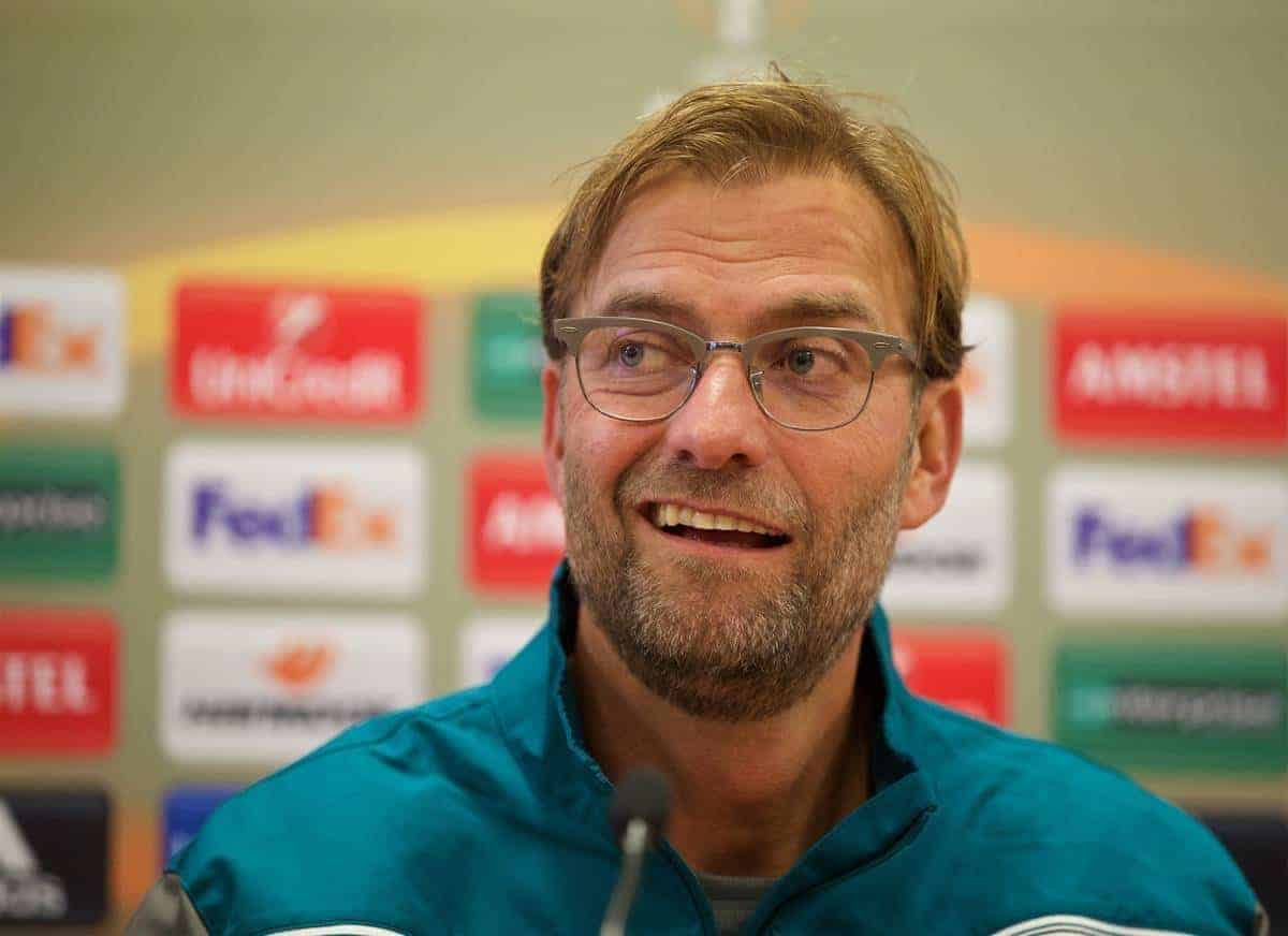 LIVERPOOL, ENGLAND - Wednesday, October 21, 2015: Liverpool's manager Jürgen Klopp during a press conference at Melwood Training Ground ahead of the UEFA Europa League Group Stage Group B match against FC Rubin Kazan. (Pic by David Rawcliffe/Propaganda)