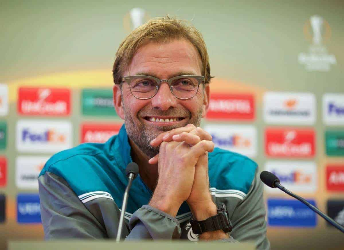 LIVERPOOL, ENGLAND - Wednesday, October 21, 2015: Liverpool's manager Jurgen Klopp during a press conference at Melwood Training Ground ahead of the UEFA Europa League Group Stage Group B match against FC Rubin Kazan. (Pic by David Rawcliffe/Propaganda)