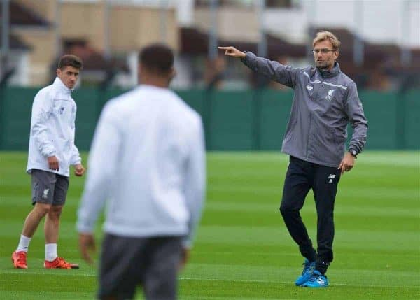 LIVERPOOL, ENGLAND - Wednesday, October 21, 2015: Liverpool's manager Jürgen Klopp during a training session at Melwood Training Ground ahead of the UEFA Europa League Group Stage Group B match against FC Rubin Kazan. (Pic by David Rawcliffe/Propaganda)