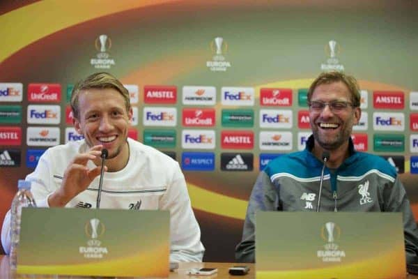 LIVERPOOL, ENGLAND - Wednesday, October 21, 2015: Liverpool's Lucas Leiva during a press conference at Melwood Training Ground ahead of the UEFA Europa League Group Stage Group B match against FC Rubin Kazan. (Pic by David Rawcliffe/Propaganda)