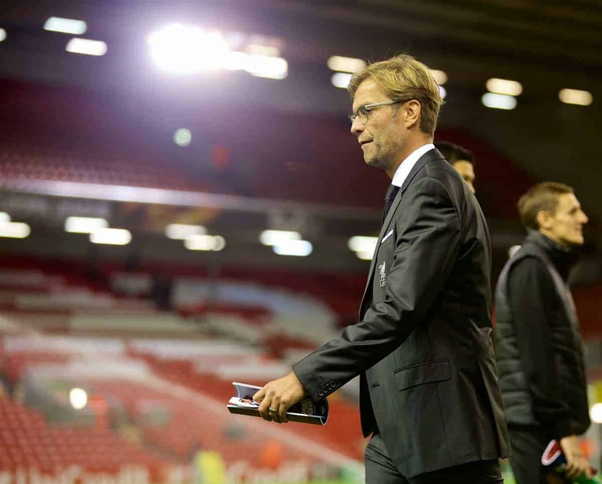 LIVERPOOL, ENGLAND - Thursday, October 22, 2015: Liverpool's new manager Jürgen Klopp walks out to see the stadium before the UEFA Europa League Group Stage Group B match against Rubin Kazan at Anfield. (Pic by David Rawcliffe/Propaganda)