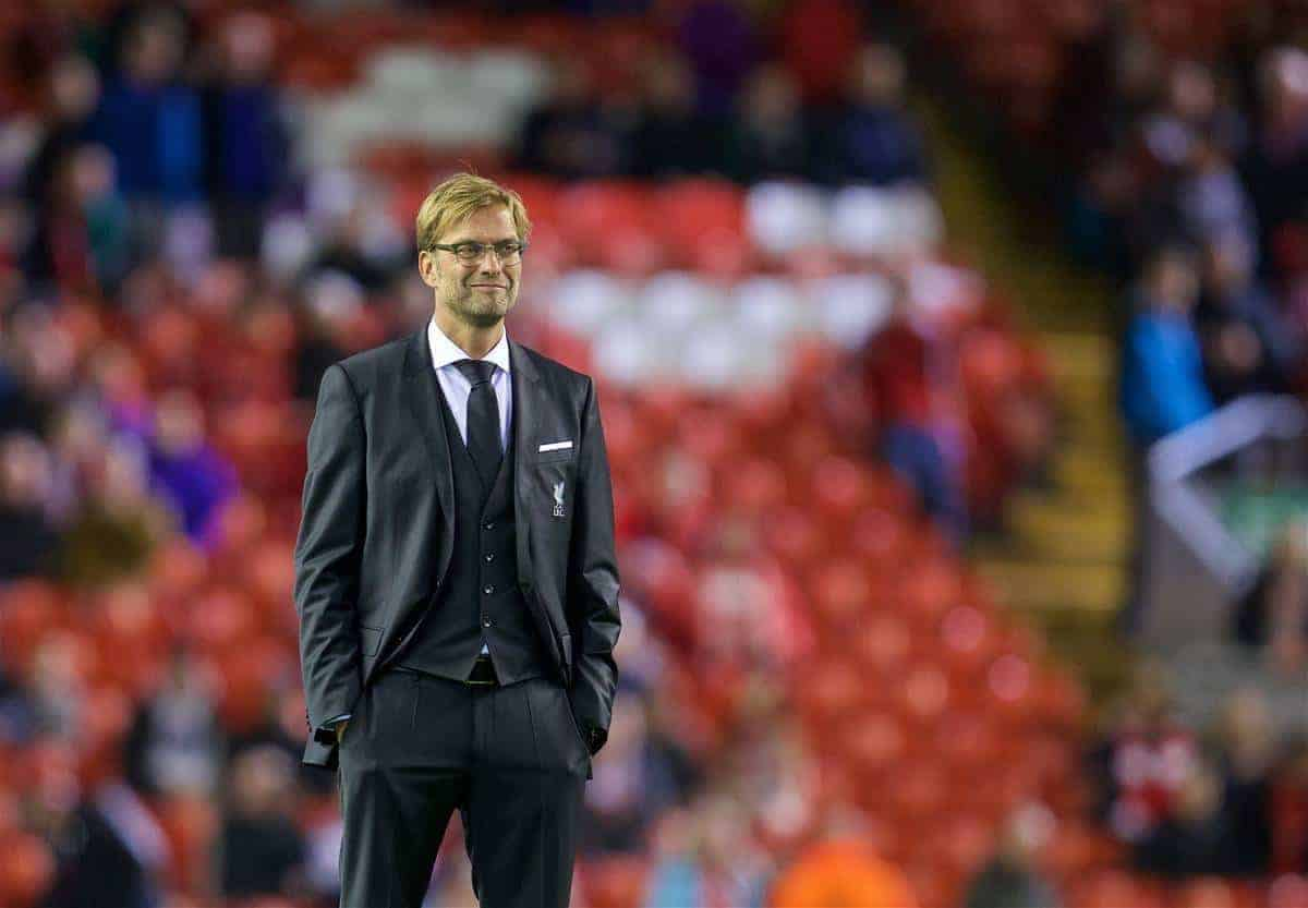 LIVERPOOL, ENGLAND - Thursday, October 22, 2015: Liverpool's new manager Jürgen Klopp watches his side warm-up before the UEFA Europa League Group Stage Group B match against Rubin Kazan at Anfield. (Pic by David Rawcliffe/Propaganda)