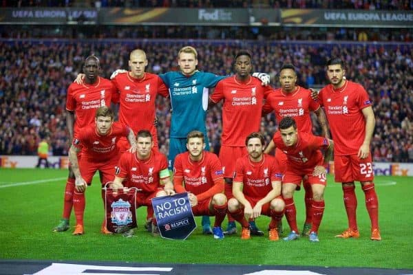 LIVERPOOL, ENGLAND - Thursday, October 22, 2015: Liverpool's players line up for a team group photograph before the UEFA Europa League Group Stage Group B match against Rubin Kazan at Anfield. Back row L-R: Mamadou Sakho, Martin Skrtel, goalkeeper Simon Mignolet, Divock Origi, Nathaniel Clyne, Emre Can. Front row L-R: Alberto Moreno, James Milner, Joe Allen, Philippe Coutinho Correia. (Pic by David Rawcliffe/Propaganda)